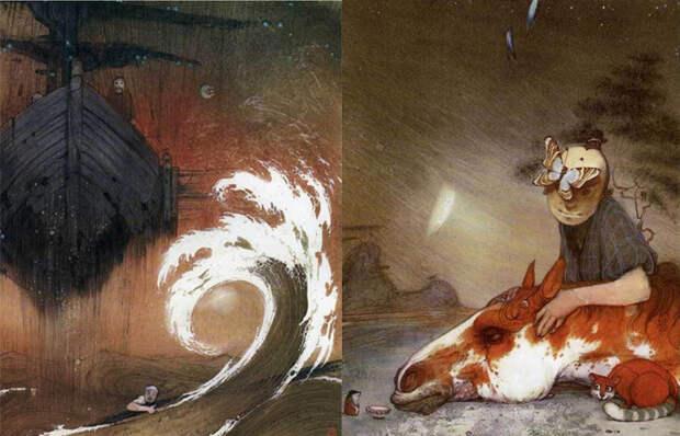 Иллюстрации к японским сказкам.