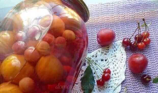 рецепт компота из вишни и сливы
