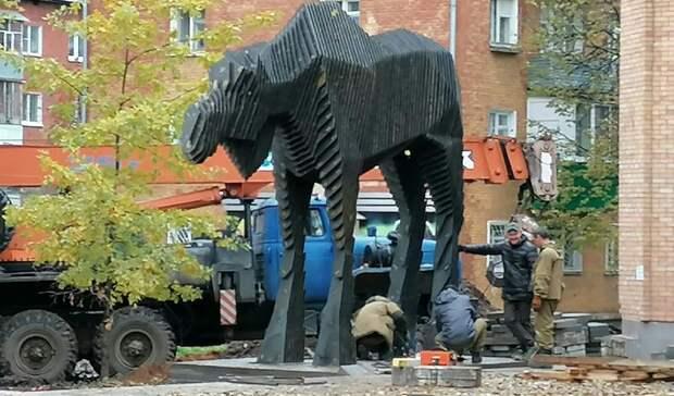 Четырехметровая статуя безрогого лося появилась в центре Глазова