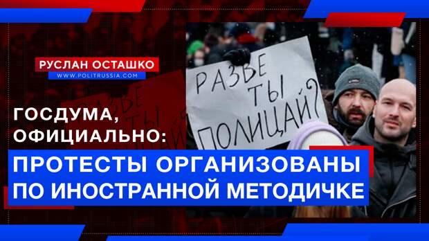 Госдума официально признала, что протесты в России организованы по иностранной «методичке»