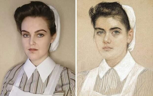 """8. Николай Богданов-Бельский """"Портрет медсестры"""" (1910)"""