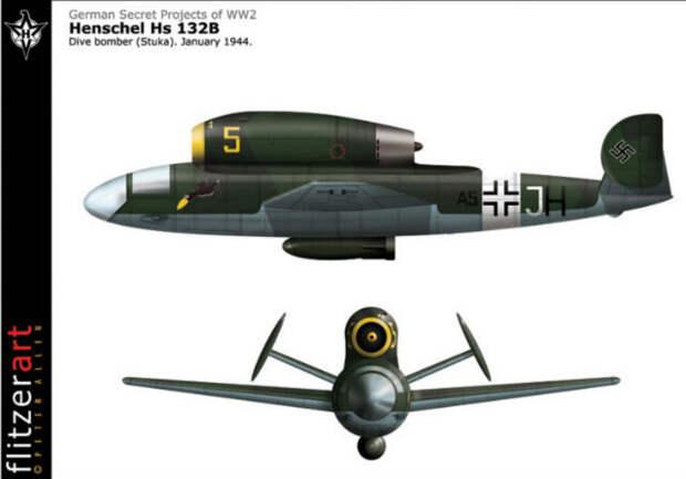 Henschel Hs-132 – немецкий реактивный пикирующий бомбардировщик 1944-1945 годов, так и не вышедший из стадии прототипа. В нём тестировались необычные решения – расположение двигателя наверху фюзеляжа и положение пилота – он должен был лежать на животе. В теории самолёт мог бы стать грозным оружием, но к счастью, советские войска захватили фабрику Henschel как раз когда прототипы были закончены.