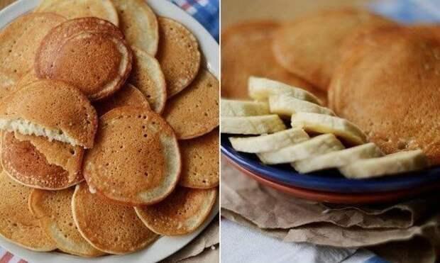 Тонкие банановые панкейки без масла