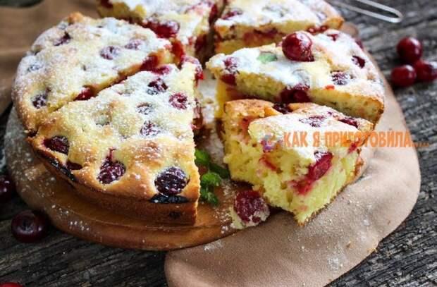 Вишневый пирог на сметане — вкусный и простой рецепт
