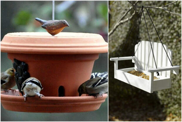 Оригинальные кормушки для птиц. | Фото: landshaftadvice.ru, HappyModern.RU.