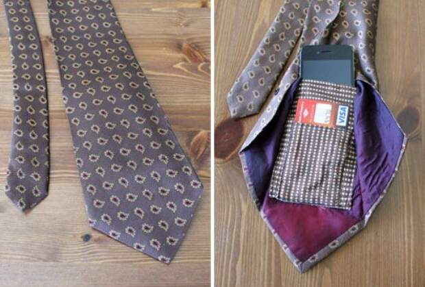 серый галстук с карманом