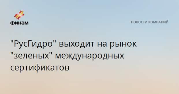 """""""РусГидро"""" выходит на рынок """"зеленых"""" международных сертификатов"""
