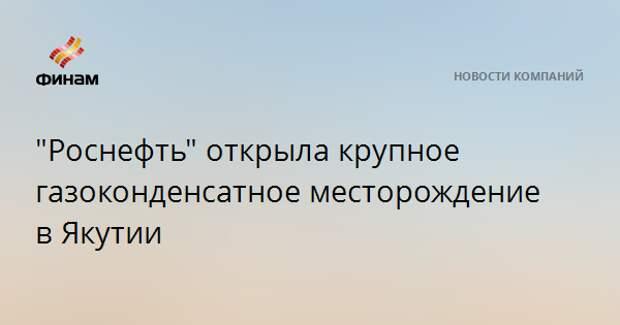 """""""Роснефть"""" открыла крупное газоконденсатное месторождение в Якутии"""