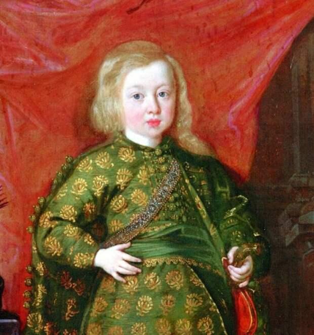 Фрагмент портрета наследного принца Польши Сигизмунда Казимира Васы (примерно 1644 год) с характерными светлыми волосами, потемневшими со временем, что подтверждается его более поздними изображениями.