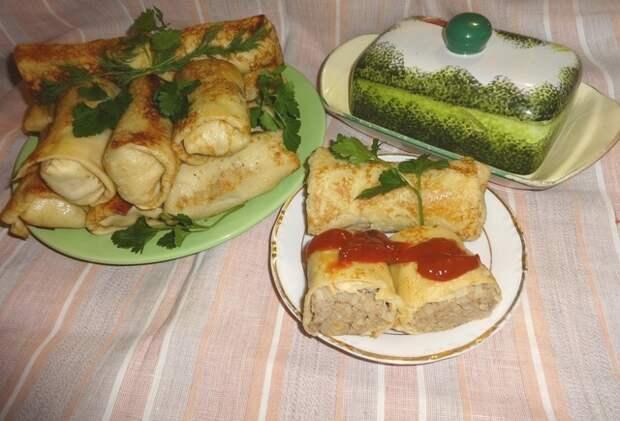 Фото к рецепту: Блинчики с рисом и печёнкой #масленица2021