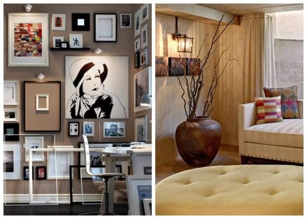 Громоздкие напольные вазы и огромное количество картин и фотографий превратят маленькую комнату в свалку антиквариата.