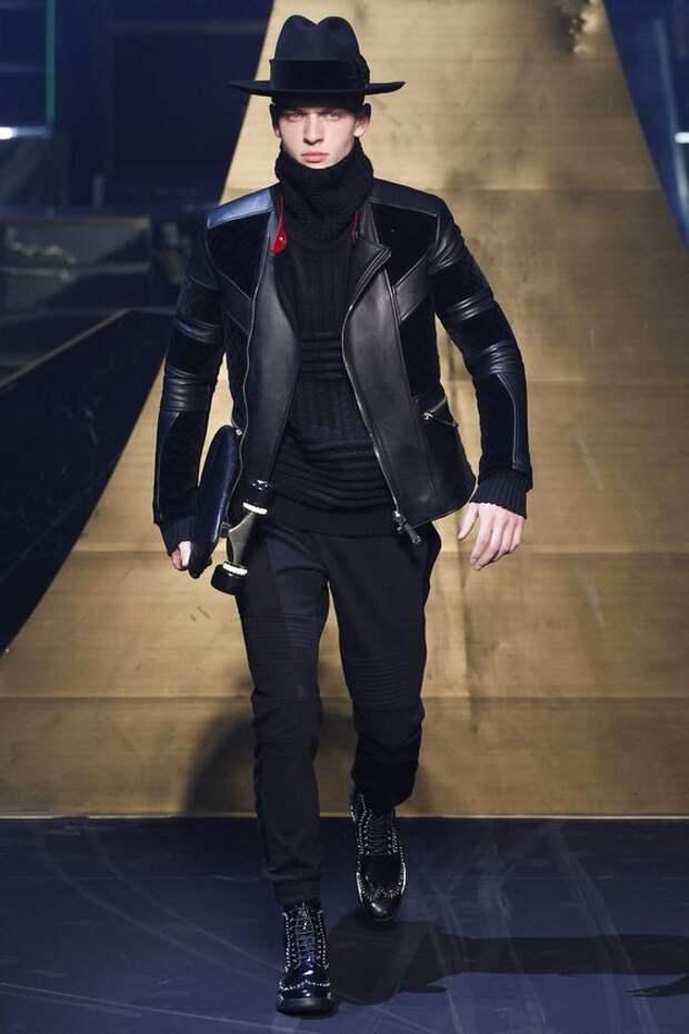 Philipp Plein черная кожаная куртка с замшевыми вставками
