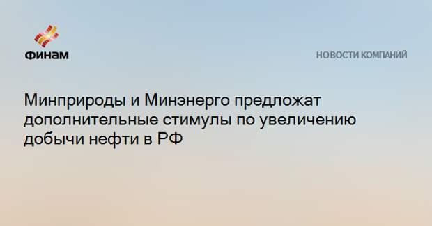 Минприроды и Минэнерго предложат дополнительные стимулы по увеличению добычи нефти в РФ