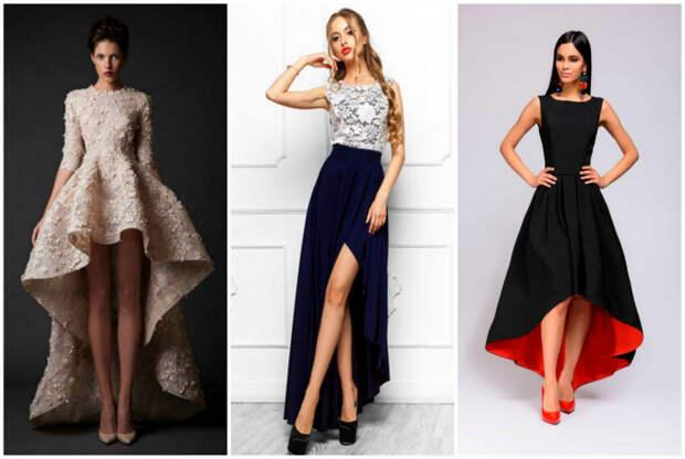 Модели платьев с асимметричными юбками.