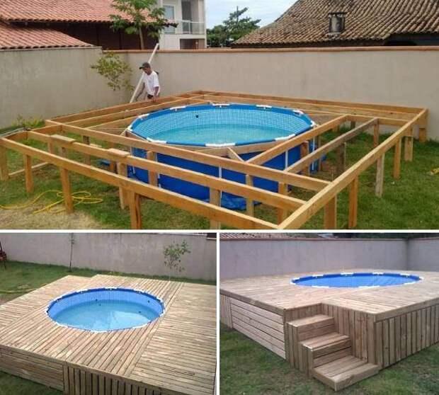 Небольшой каркасный бассейн с деревянным подиумом