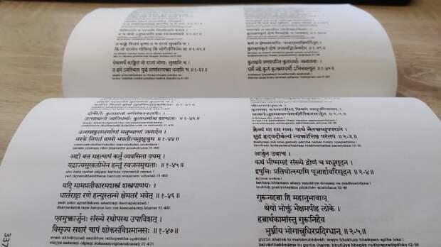 Бхагавад-Гита на санскрите с транслитерацией (фрагмент)