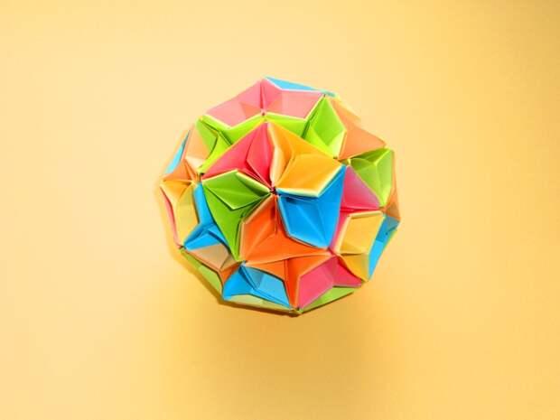 Оригами кусудама шар из бумаги Модульное оригами