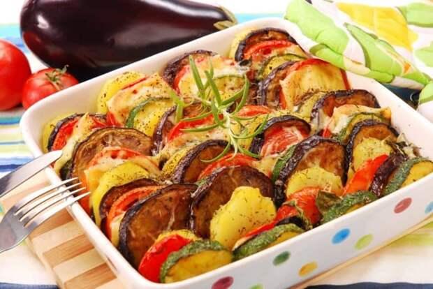 Запечённые овощи в духовке с сыром
