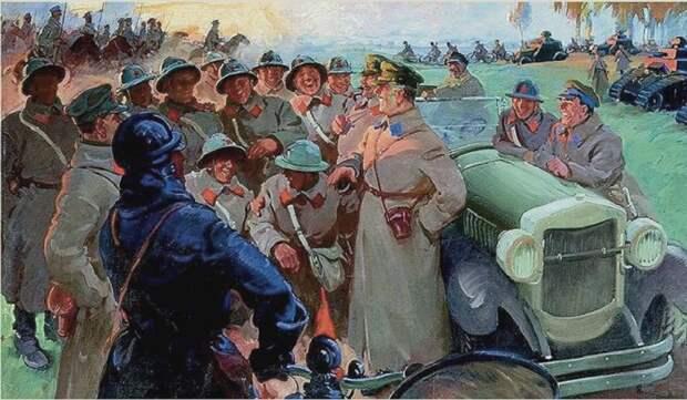 К.Е. Ворошилов на маневрах. (1932 год). Автор: Василий Сварог.