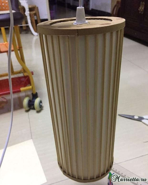 Светильник своими руками - из картона и шашлычных палочек (18) (538x670, 210Kb)