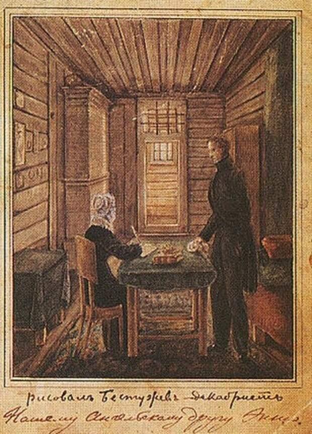 Супруги Розен в Петровском заводе. Надпись «Нашему ангельскому другу Энни» - то есть оставленному в России сыну Евгению