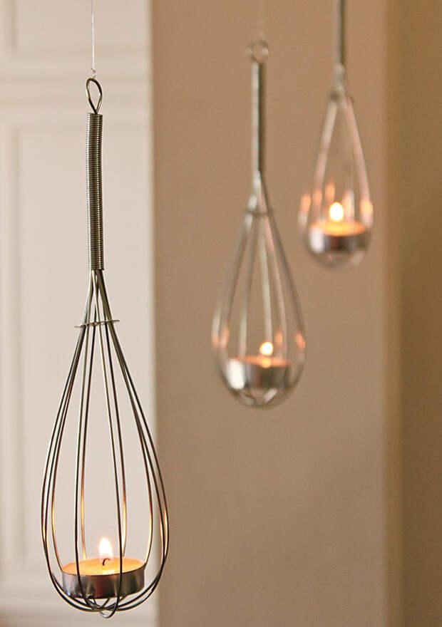 Hanging Whisk Tealight Holders