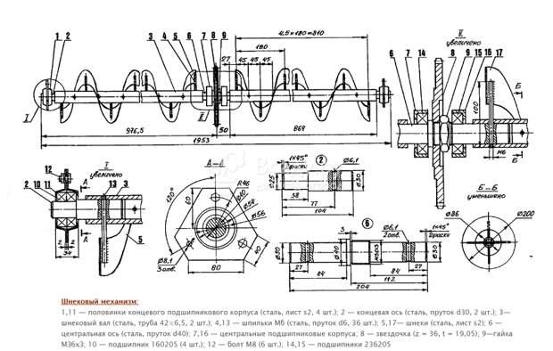 Схема шнекового механизма для снегоуборщика