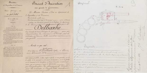 Patent Knuckleduster Pistol invention of Jozeph Delhaxhe