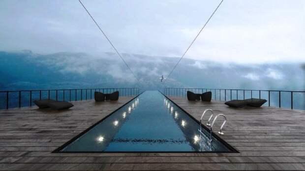 Плавая в таком бассейне, постояльцы смогут испытать на прочность свою нервную систему (концепт Norwegian Cliff Hotel). | Фото: propertydesign.pl.