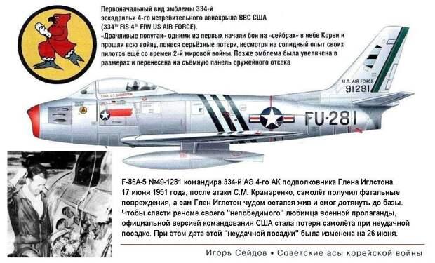 F-86А Глена Иглстона подбитый С.М.Крамаренко 17.06.1951 г.