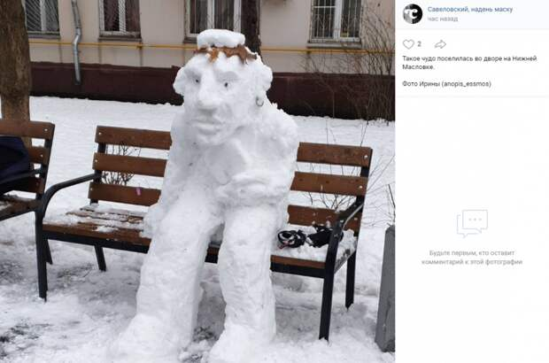 Фото дня: снежный пират на Нижней Масловке