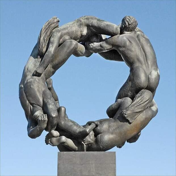 Норвежский парк скульптур Вигеланда искусство, красиво, поразительно, тело, человек, шедевры