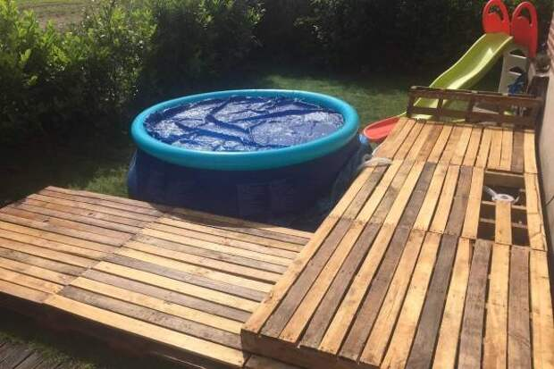 Как оформить надувной бассейн на участке - на фото детский бассейн