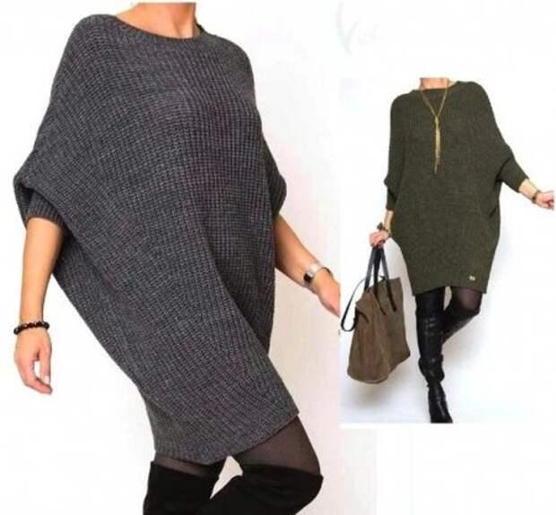 Связанное спицами платье - туника