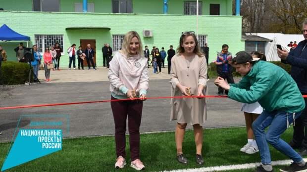 Ольга Торубарова приняла участие в открытии футбольного поля в Нижнегорском районе