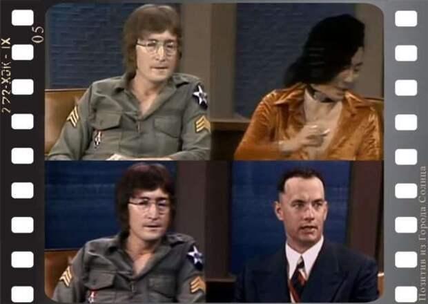 Как в «Форрест Гамп» снимали сцену с живым Джоном Ленноном (6 фото + 1 видео)
