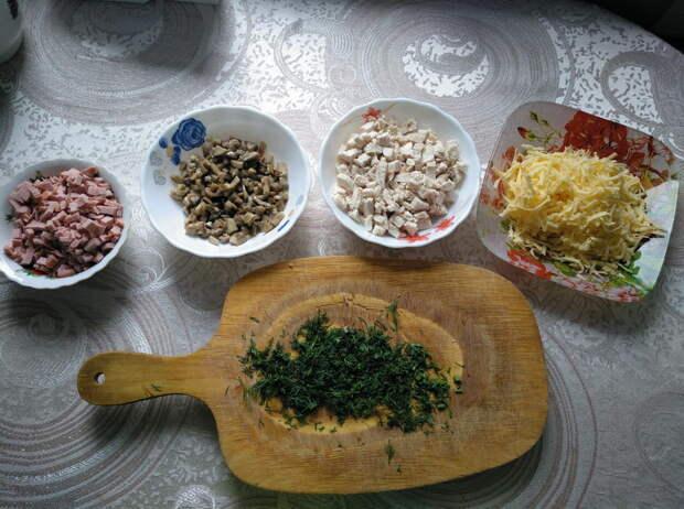 Слоёный пирог с курицей и грибами
