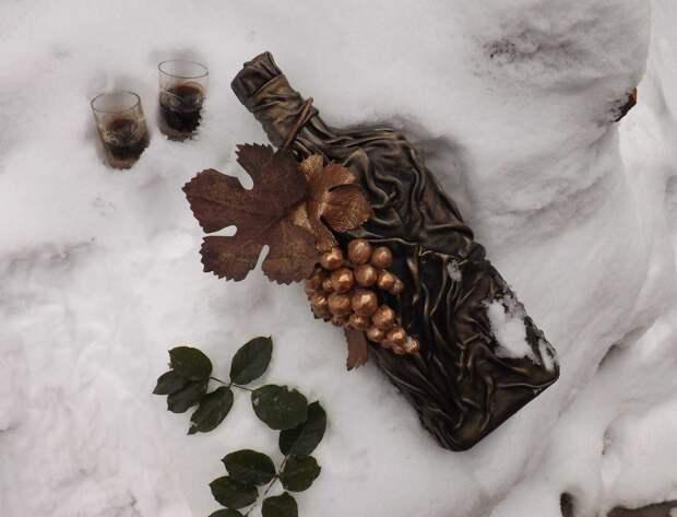 Способы декора бутылок кожей