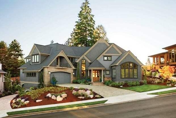 Фото частного дома в красивом сине-зеленом цвете