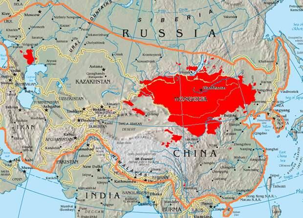 Оранжевым показаны границы Монгольской империи.