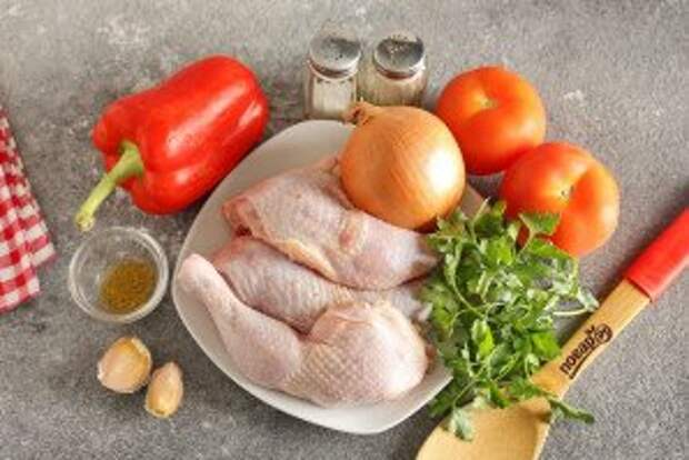 Чахохбили из курицы с болгарским перцем - фото шаг 1