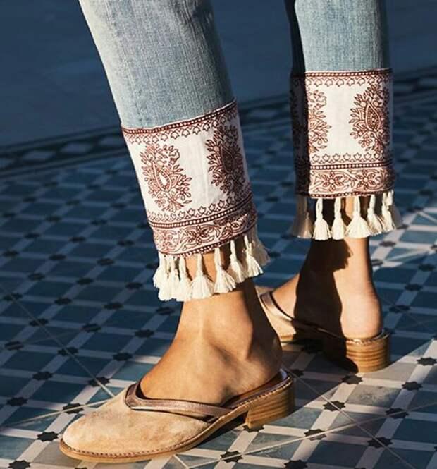 Декоративная отделка низа джинсов