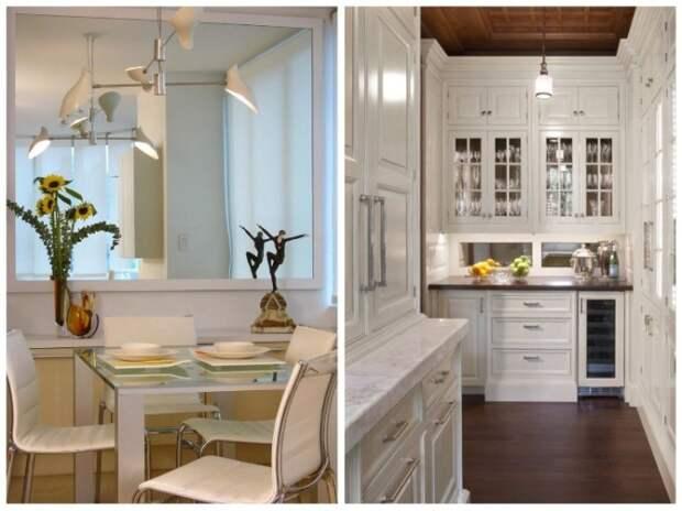 Зеркала и зеркальные фасады помогут визуально увеличить площадь маленькой кухни. | Фото: pinterest.com.