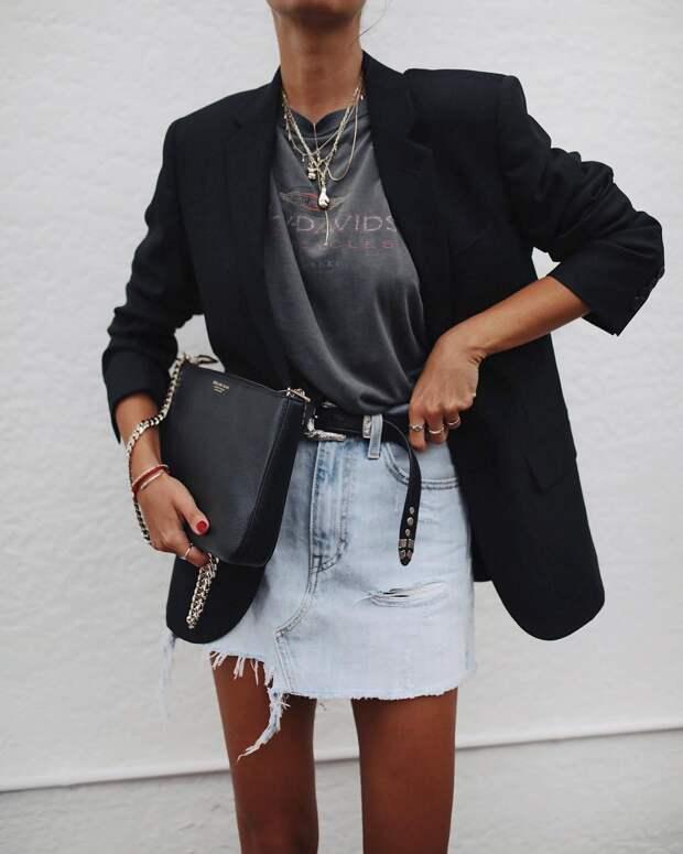 с чем носить джинсовую юбку фото 13