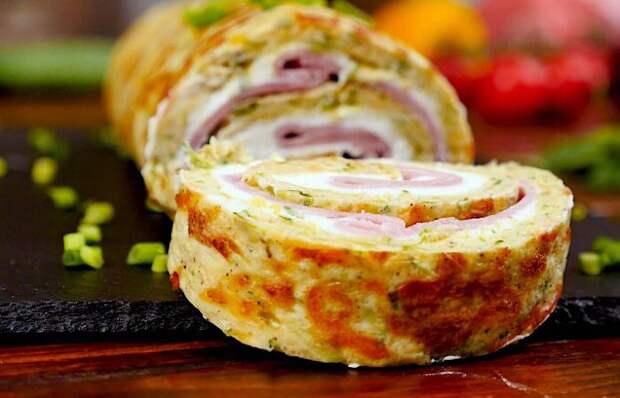Мега аппетитный кабачковый рулет с ветчиной и сыром