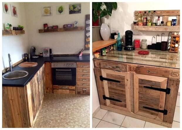 Варианты стильных кухонь, созданных из паллетов.