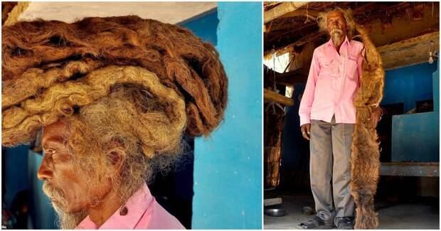 Индийский мужчина не мыл свой двухметровый дред 40 лет и называет его «благословением от Бога»