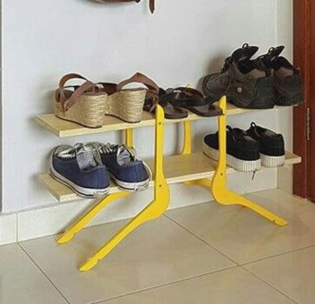 Полка для обуви из плечиков