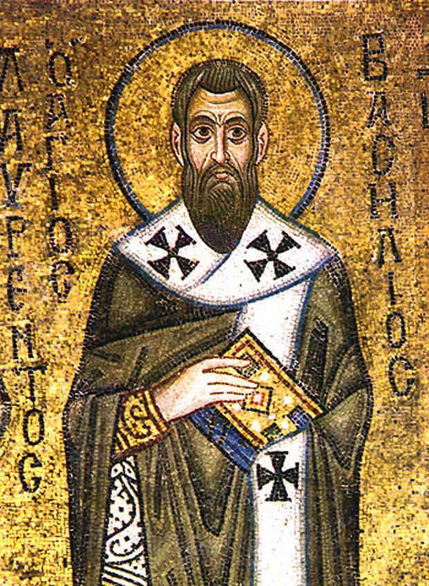 Свт. Василий Великий. Мозаика, Киевский собор Святой Софии, XI в.