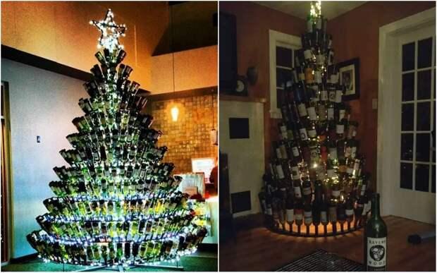 Британские домохозяйки собирают бутылки, чтобы сделать изних новогодние елки